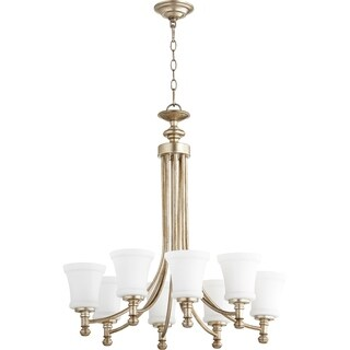 Quorum International Rossington Family Metal 8-light Transitional Chandelier with Satin Opal Glass Shades