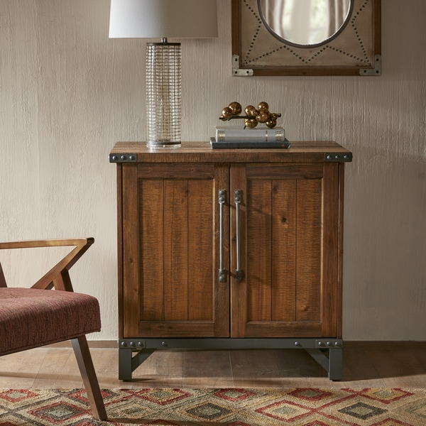 Ink Ivy Lancaster Amber Wood Graphite Metal 2 Door Accent Cabinet