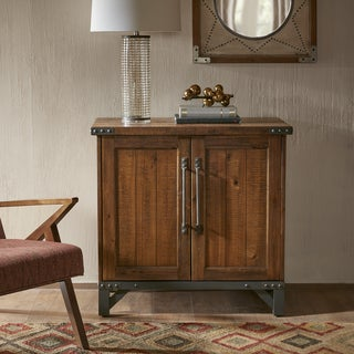 Carbon Loft Armisen Amber Wood and Graphite Metal 2-door Accent Cabinet