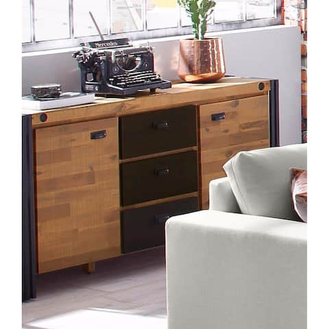 Carbon Loft Reiling Acacia Wood and Metal Sideboard Entertainment Center