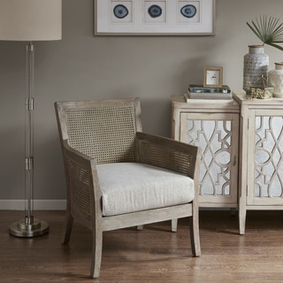 Madison Park Blaine Cream/Natural Reclaimed Wood-finish Rattan/Rubberwood Accent Chair