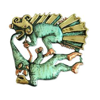 Bronze And Copper Wall Art, 'Demon And Dragon' (Peru)