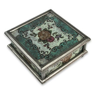 Reverse Painted Glass Box, 'Vintage Blossom' (Peru)