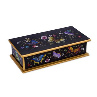 Reverse Painted Glass Decorative Box, 'Glorious Butterflies In Black' (Peru)