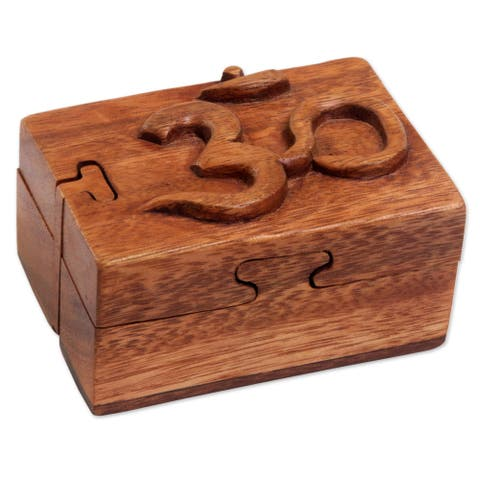 Wood Puzzle Box, 'Om Protector' (Indonesia)