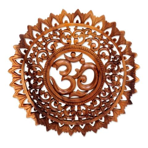 Handmade Lotus Om Wood Relief Panel (Indonesia)