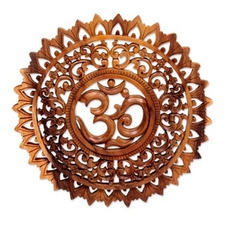 Handmade Lotus Om Wood Relief Panel (Indonesia)