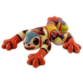 Ceramic Figurine, 'Flowery Frog' (El Salvador)
