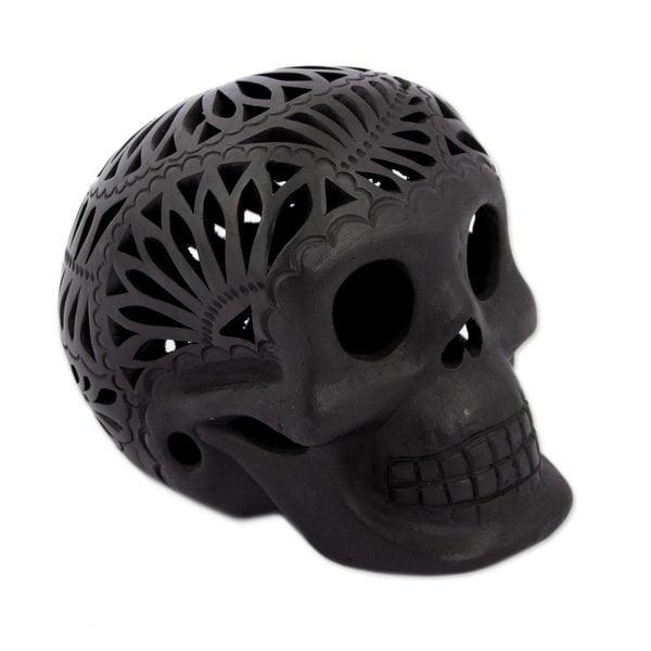 Handmade Ceramic Calavera Figurine Floral Skull (Mexico)