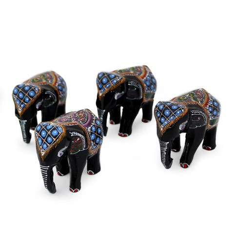 Handmade Lacquered Wood Figurines Four Young Elephants Set of 4 (Thailand)