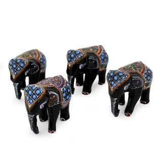 Lacquered Wood Figurines, 'Four Young Elephants' (Set Of 4) (Thailand)