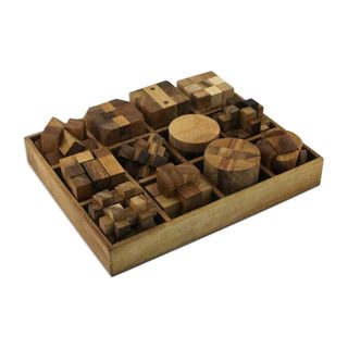 Wood Puzzle Set With Box, 'Array Of Challenges' (Set Of 12) (Thailand)