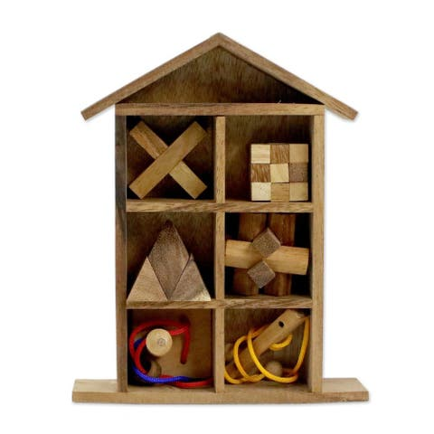 Handmade Household Challenge Wood Puzzle Set with Box, Set of 6 (Thailand)