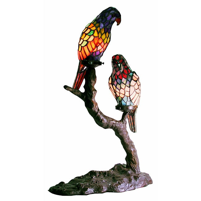 Tiffany Style Exotic Birds Accent Lamp Free Shipping