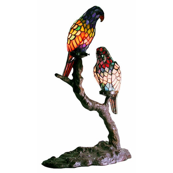Tiffany-style Exotic Birds Accent Lamp