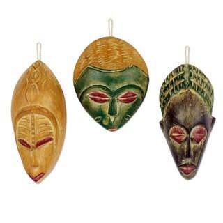 Wood Ornaments, 'Priests' (Set Of 3) (Ghana)