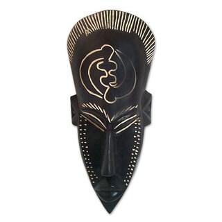 Ghanaian Wood Mask, 'No Fear' (Ghana)