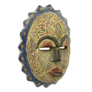 African Beaded Wood Mask, 'Speckled Sun' (Ghana)