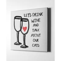 """Epic Graffiti """"Wine And Cats"""" by Linda Woods, Giclee Canvas Wall Art"""
