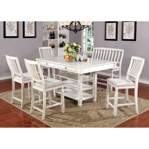Furniture of America Keer White Solid Wood 6-piece Counter Dining Set