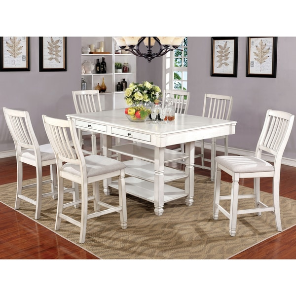 White Wood Dining Set: Shop Furniture Of America Seren Antique White Wood/Fabric