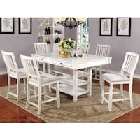 Furniture of America Seren Antique White Wood/Fabric Country Style 7-piece Counter-height Dining Set