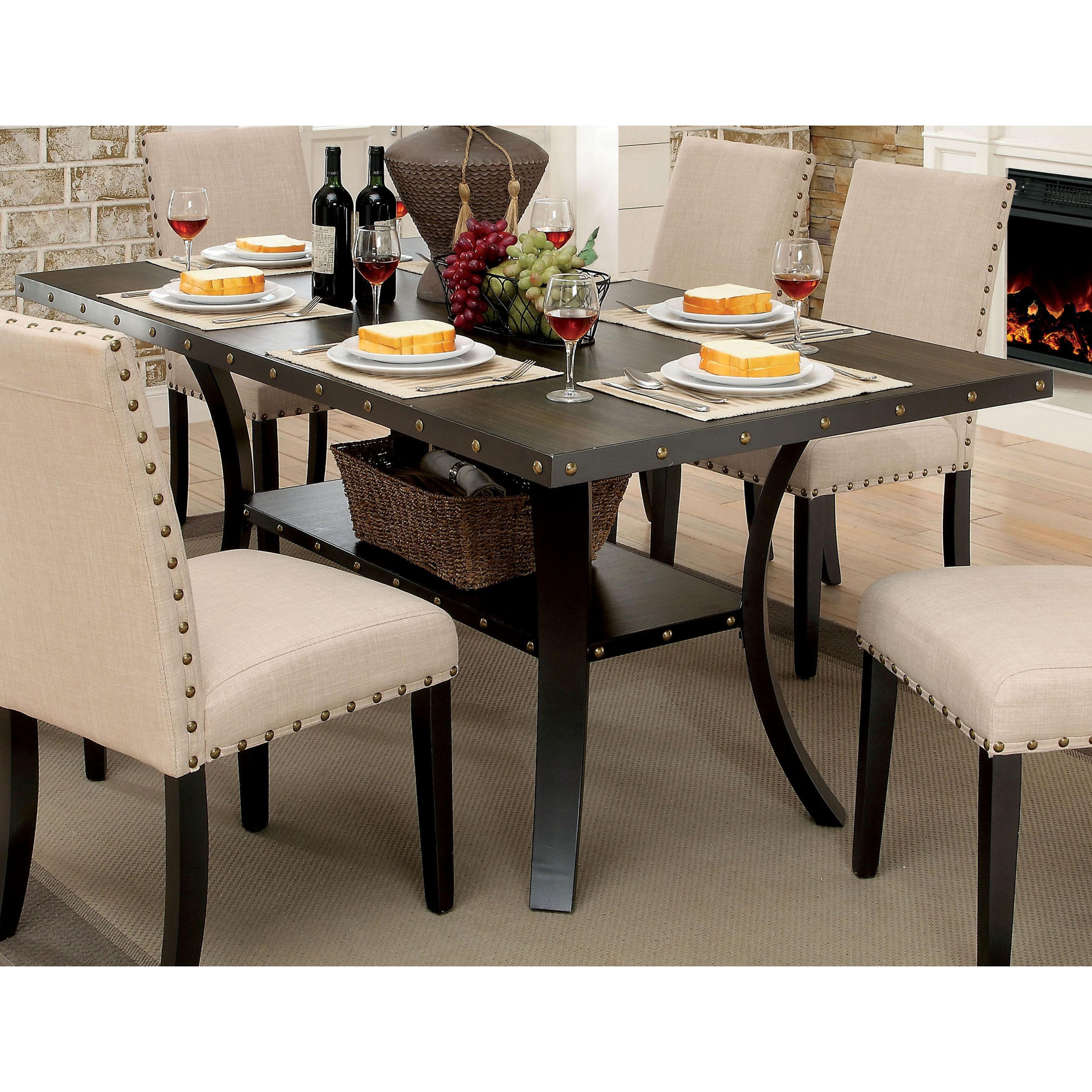 Furniture of America Simmerton Walnut-finish Wood 70-inch Industrial Dining  Table - Walnut