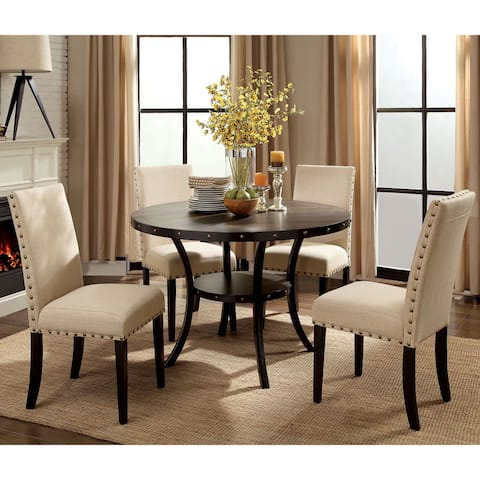 Furniture of America Sika Walnut Solid Wood 5-piece Round Dining Set