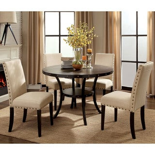 Superior Furniture Of America Simmerton Industrial Walnut 5 Piece Round Dining Set