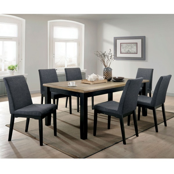 Modern Retro 5 Piece Dinette Set With Faux Leather Black: Shop Copper Grove Zagreb Wire-brushed Oak/Black Wood 7