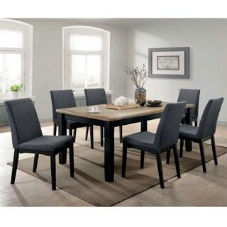 Furniture of America Sierra Wire-brushed Oak/Black Wood 7-piece Dining Set