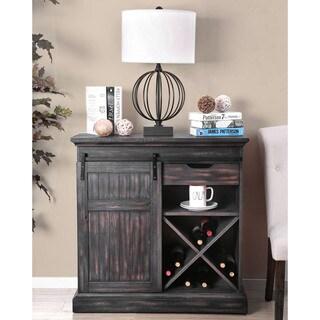 Furniture of America Kelani Rustic Wooden Wine Cabinet