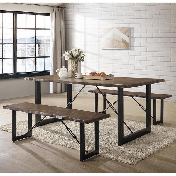 Furniture of America Mass Rustic Walnut Solid Wood 3-piece Dining Set
