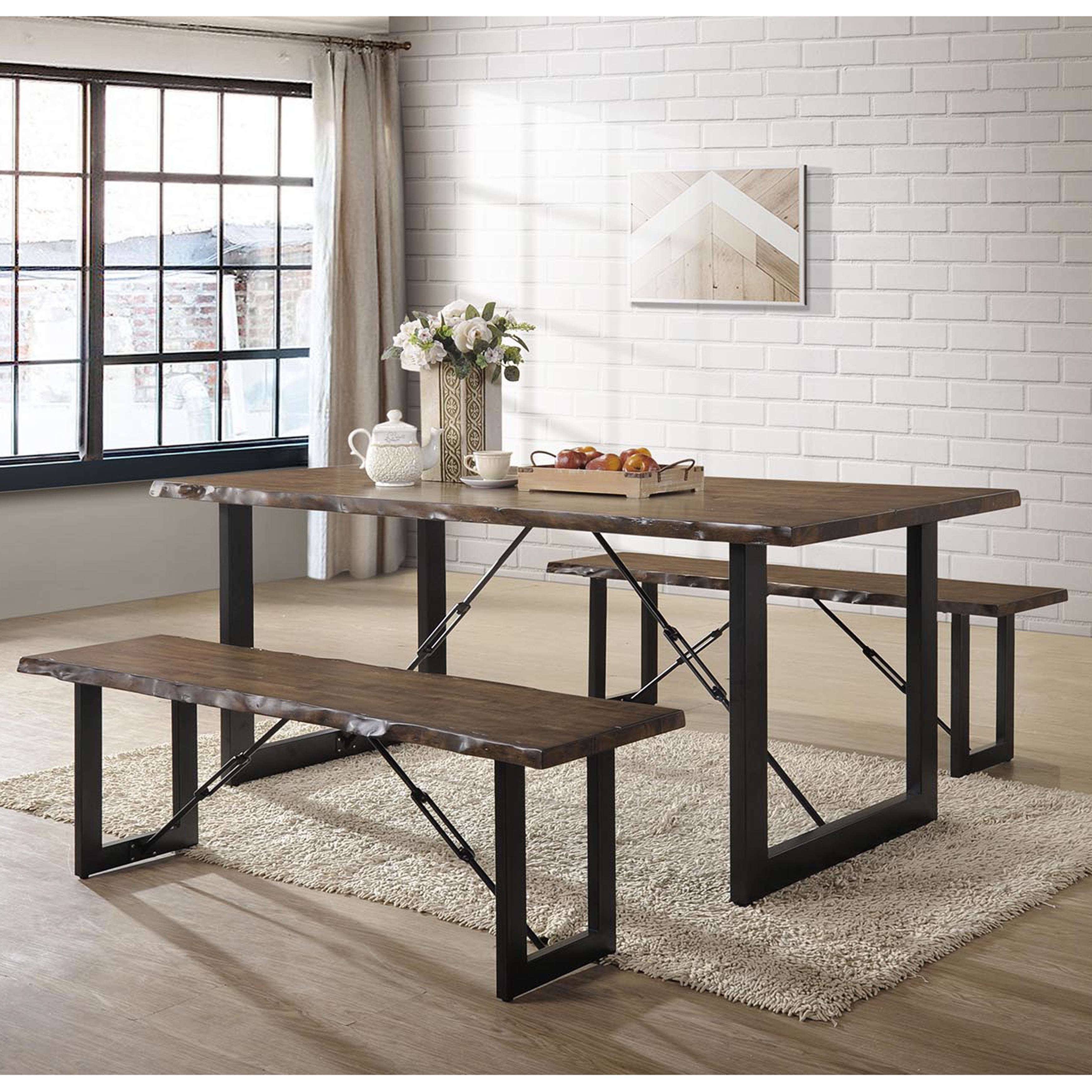 Details about furniture of america terele walnut finish wood rustic industrial 3 piece dining
