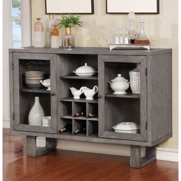 Furniture of America Galicia Weathered Grey Finish Wood Transitional Dining Server