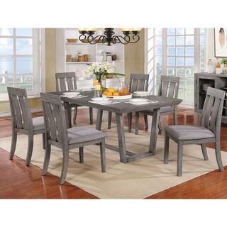 Furniture of America Galicia Weathered Grey Wood/Veneer Transitional 7-piece Dining Set