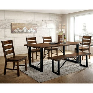 Furniture of America Mass Industrial Walnut Solid Wood 6-piece Dining Set
