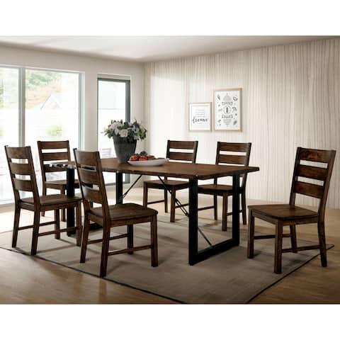 Furniture of America Mass Rustic Walnut Solid Wood 7-piece Dining Set