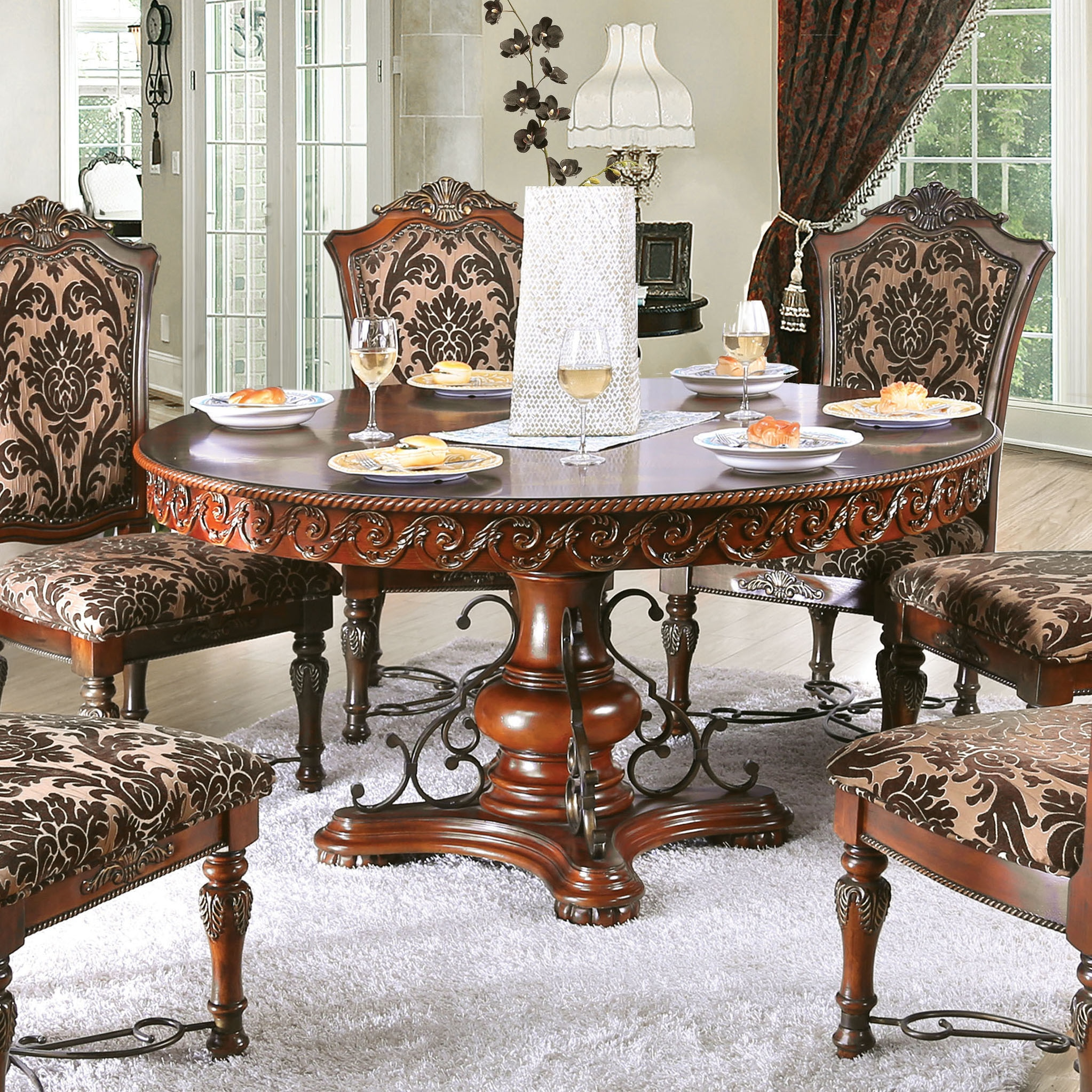 Tifanil Traditional 60 Inch Brown Cherry Round Dining Table By Foa