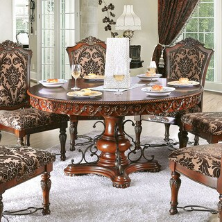 Furniture of America Tifanil Brown Cherry Finish Wood Metal Round Dining Table