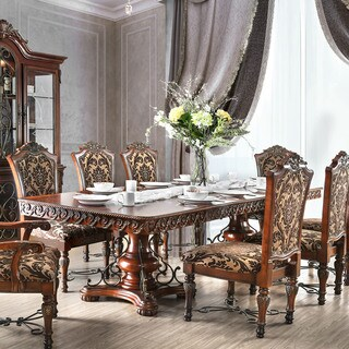 Furniture of America Tifanil Brown Cherry Finish Wood Iron Expandable Dining Table
