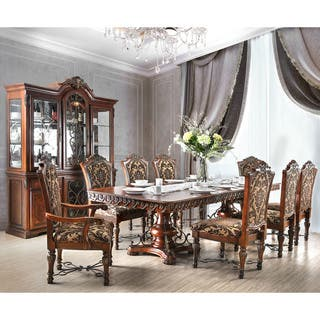 furniture of america tifanil brown cherry wood veneer traditional 9 piece dining set - Traditional Dining Room Sets