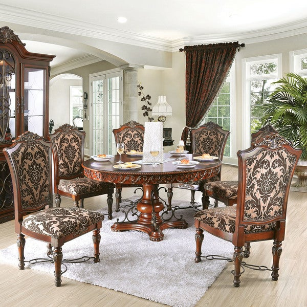 Brown Traditional 5 Piece Round Dining Set Cally: Shop Furniture Of America Tifanil Brown Cherry Finish 7