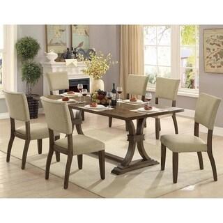 Furniture of America Jeferson Farmhouse Rustic Oak 7-piece Dining Set