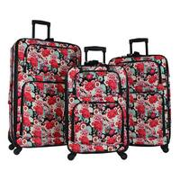 World Traveler Floral 3-piece Rolling Expandable Spinner Luggage Set