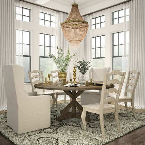 Sabera Shabby Chic Round X-Base Dining Set - French Ladder Back by iNSPIRE Q Classic