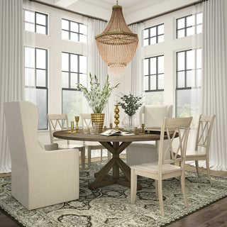Sabera Shabby Chic Round X-Base Dining Set - Double X Back by iNSPIRE Q Classic