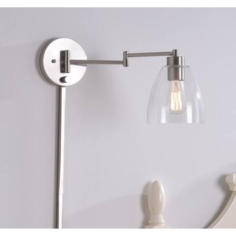 """Edie 9.25"""" Brushed Steel Swing Arm Lamp"""