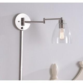 """Design Craft Edie 9.25"""" Brushed Steel Swing Arm Lamp"""