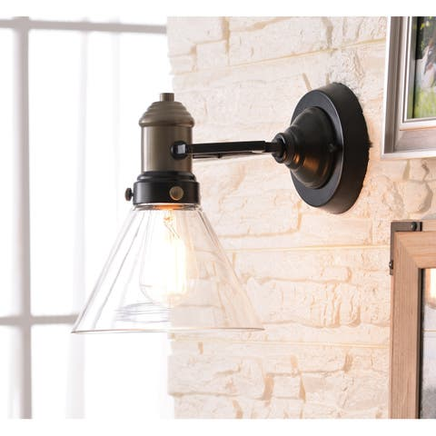 "Lookout 9.25"" Antique Brass with Oil Rubbed Bronze 1 Light Sconce"
